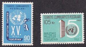 Turkey # 1497-1498, U.N. 15th Anniversary, NH, 1/2 Cat.