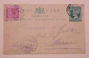 GIBRALTAR  POSTAL CARD 1898 B/S SWITZERLAND