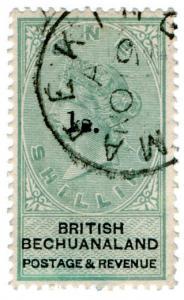 (I.B) British Bechuanaland Revenue : Duty Stamp 1/- on 1/- OP (Mafeking)