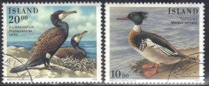 ICELAND   SC# 814+834 **USED** 20k,10k 1996-97  DUCKS    SEE SCAN