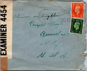 Newcastle-on-Tyne UK > Rensselaer NY 1941 censored WWII cover blue