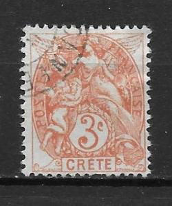 French Offices in Crete 3 3c single Used