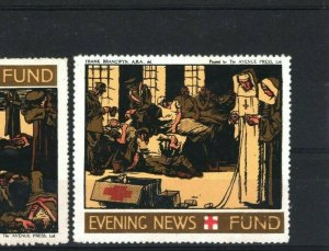 GB RED CROSS WW1 *Daily Mail & Evening News Fund* Charity Stamps{2} Labels DA177