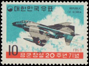 Korea #686-687, Complete Set(2), 1962, Military Related, Airplanes, Never Hinged