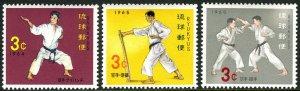 Ryukyu 125-127, MNH. Karate, Ryukyuan self-defense sport, 1964-1965