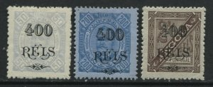 Angola 1902 3 new 400 reis values overprinted mint o.g. hinged