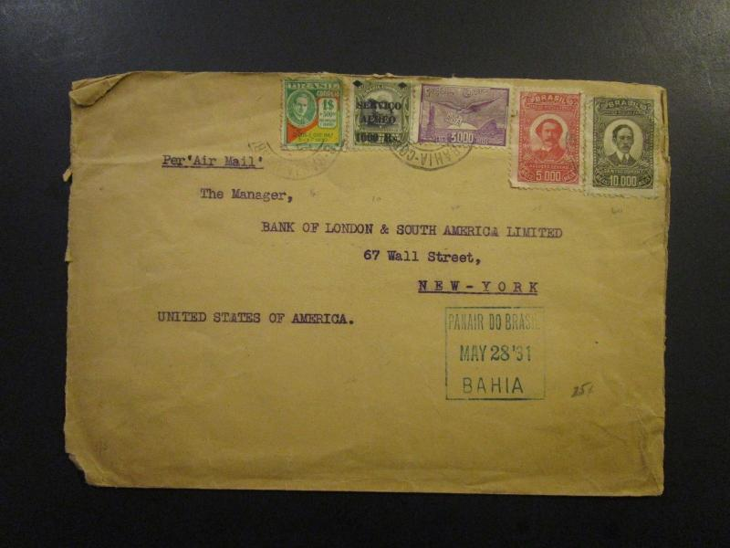 Brazil 1931 Airmail Cover to USA / Light Creases on Stamps - Z6052