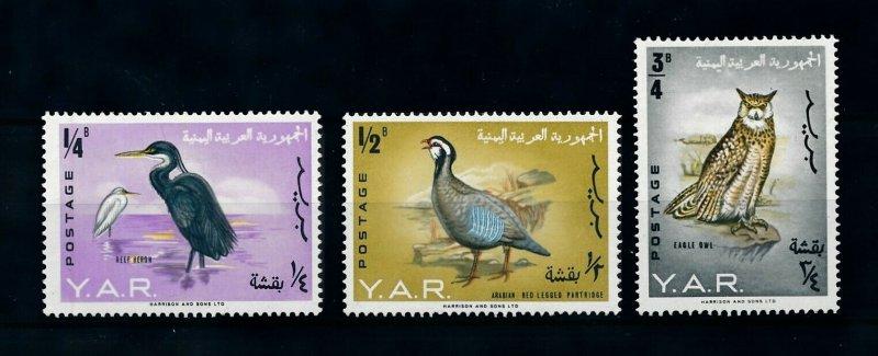 Yemen MNH Birds 3 Values 1965