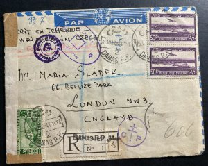 1942 Damascus Syria Airmail Censored Cover To London England