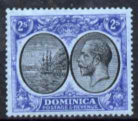 Dominica 1923-33 KG5 Badge 2s black & blue on blue mo...