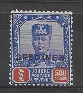 MALAYA JOHORE SG128s 1926 $500 BLUE & RED SPECIMEN MTD MINT
