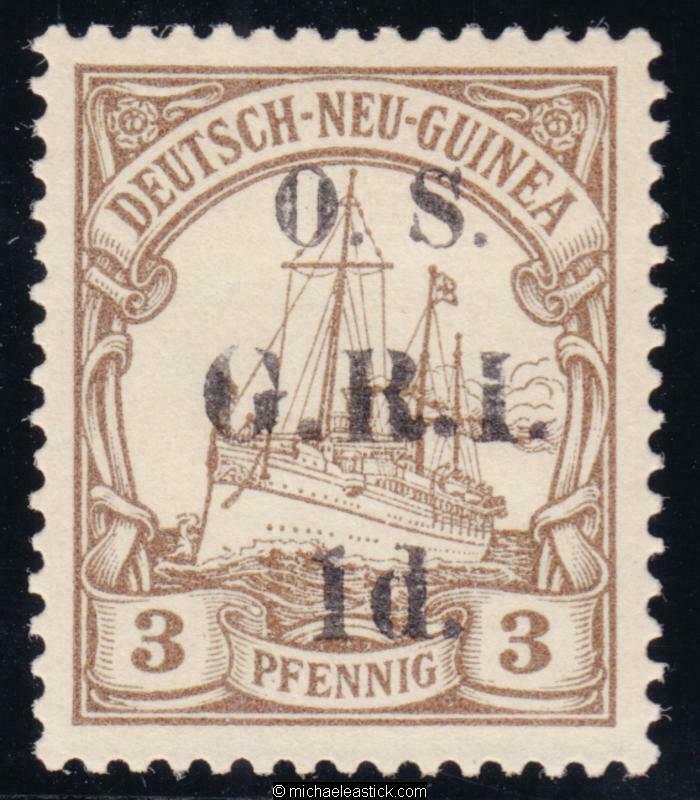 1914 New Guinea 1d on 3pf Brown, overprinted 'O.S. G.R.I.' , SG 01, MH