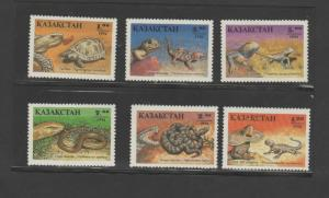 O) 1994 KAZAKHSTAN, REPTILES, LIZARD, SNAKE, SET FOR 6 MNH