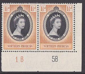 SOUTHERN RHODESIA 1953 Coronation plate pair MNH............................3281