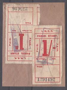 GB 1930s LNER Railway Parcel Stamps on piece - Dunfermline cancel ?........57328