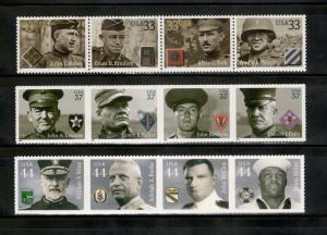 3393-6,3961-4,4440-3 Distinguished Military Strip MNH FREE SHIPPING