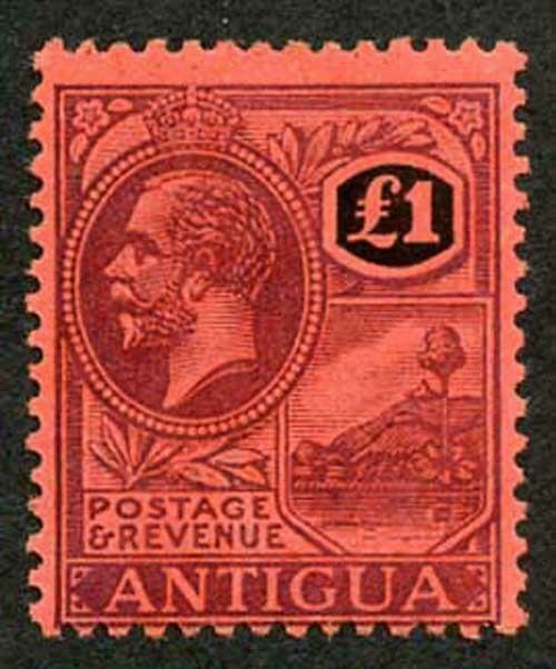 Antigua SG61 1921 ONE POUND Purple and Black/red Fresh M/Mint