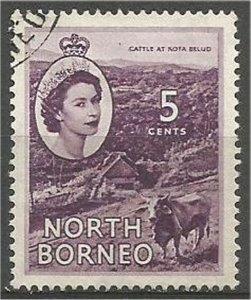 NORTH BORNEO 1954, used, 5c, Elizabeth II Scott 265