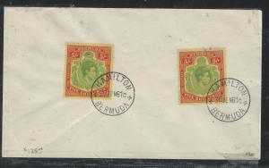 BERMUDA (P2906B) 1950 KGVI KEYPATE 5/- SG 118EX2  CTO ON UNADDRESSED ENVELOPE
