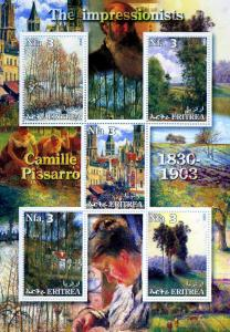 ERITREA 2002 Camille Pissarro Paintings Sheet Perforated Mint (NH)