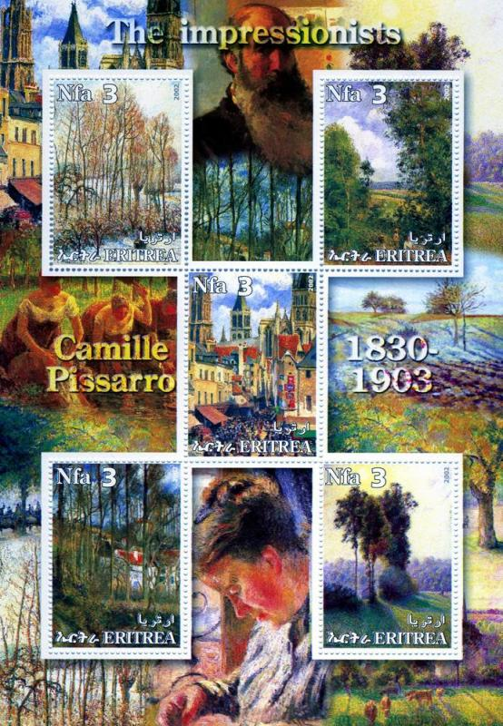 Eritrea 2002 Camille Pissarro Paintings Sheet Perforated mnh.vf