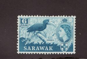 SARAWAK Scott #217 ** MNH, QEII, Hornbill bird, 6¢ postage stamp