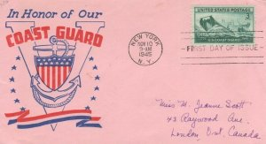 936  3c  U.S. COAST GUARD  - Poppenger WWII Patriotic sent to Canada