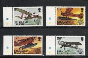 Falkland Islands #383-6 comp mnh cv $2.25 Airplanes