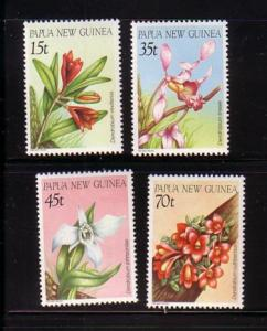 Papua New Guinea Sc651-4 1986 orchids stamps mint NH