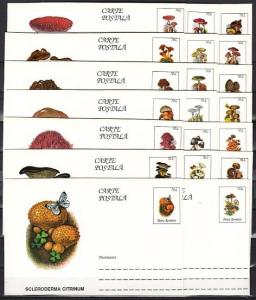 Romania, 1996 issue. 20 Mushroom Postal Cards with some Butterflies in design. ^