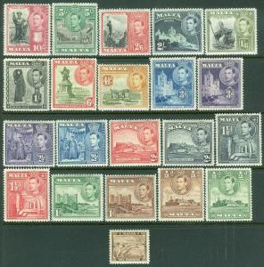 EDW1949SELL : MALTA 1938-43 Sc #191-205. 6 Cplt sets VF MOG LH some NH Cat $286+
