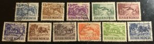 Indonesia Scott#424-431, 450-451, 453 Used Group of 11 F/VF to XF Cat. $2.20