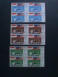 PHILIPPINES-1965-SC# 936-8 SIGNING  MANILA ACCORD-MAPILLINDO -MNH BLOCKS- VF