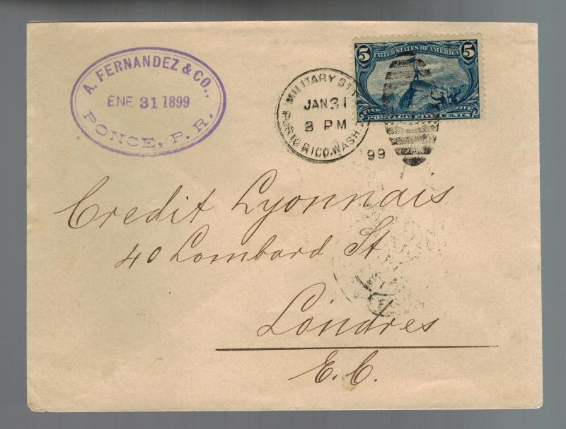 1899 Puerto Rico Ponce Military Station Cover to Credit Lyonnais Bank in England