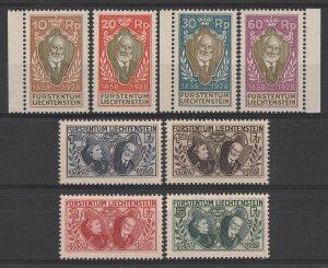 LIECHTENSTEIN 1928 Accession Anniversary set 10r-5Fr. MNH **. Mi 82-9 cat €1200.