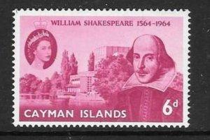 CAYMAN ISLANDS SG183 1964 SHAKESPEARE MNH