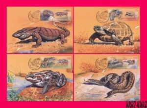KYRGYZSTAN 2019 Fauna Reptile Amphibian Varanus Turtle Frog Snake Maxicards Card