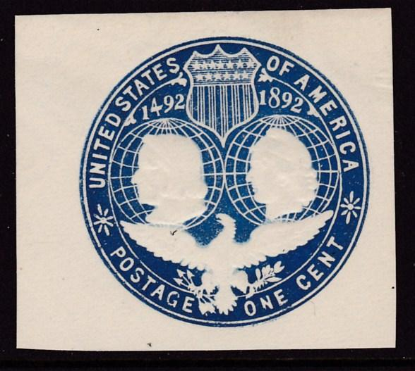 United States 1 cent blue Columbian Cut Square VF