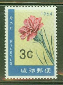 RYUKYU Scott 118 Carnation Flower stamp 1964 MNH**