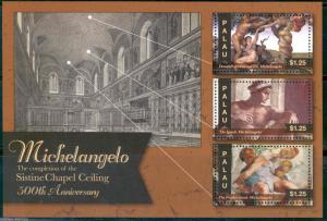 PALAU  2013 500th MICHELANGELO  ANNIVERSARY SISTINE CHAPEL COMPLETION  SHEET  NH