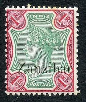 Zanzibar SG18 1r Green and aniline-carmine Small second Z M/M (tone spots)