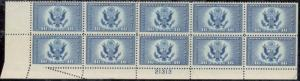 CE1, PLATE BLOCK OF 10 WITH FOLD OVER ERROR - UNIQUE
