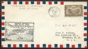 Doyle's_Stamps: Canadian-USA Postal History: Toronto to Buffalo 1st Flight Cover