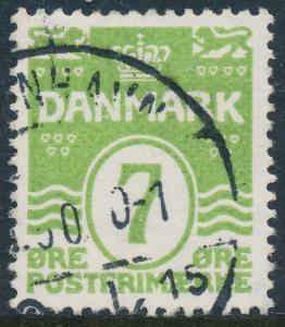 Denmark Scott 91 (AFA 167), 7ø green Wavy Lines, VF Used