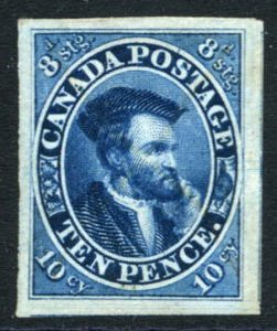 CANADA: Sc.#7a  O  10d. Blue, FABULOUS example on Thick Opaque Paper with HUG...