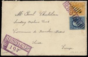 USA 1911 Switzerland Washington ONAGA KS Transatlantic Registered Cover 81879