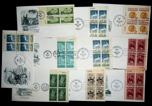 FDCs - w/PLATE BLOCKS - x10 (2) - see photo