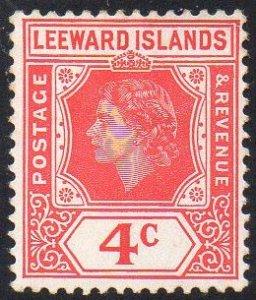 Leeward Islands 1954 4c rose-red MH