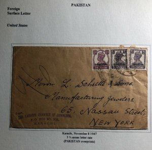 1947 Karachi Pakistan India Chamber Of Commerce Cover To New York USA