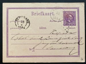 1884 Netherlands indies postal stationery Postcard Cover To Semarang